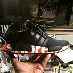 Adidas NMD Black Custom Red Superme Shoes Absolutely authentic, Adidas this spring to give you not the same surprise. Adidas Nmd Noir, Adidas Nmd R1 Schwarz, Adidas Nmd R1 Pink, Adidas Nmds, Adidas Sneakers, Latex Fashion, Fashion Shoes, Fashion Models, Tenis Nmd