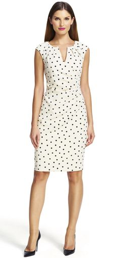 Feminine dots pattern throughout this charming side wrapped crepe sheath dress. Sheath Dress, Dress Skirt, Lace Dress, Office Dresses, Dresses For Work, Trendy Dresses, Casual Dresses, Dress Outfits, Fashion Dresses