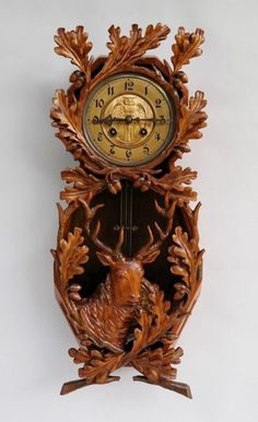 Antique Black Forest Wood Carving Hunting Wall Clock Regulator - Stag Owl