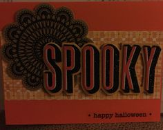 Halloween card - Spooky word art with paper cutout on orange card