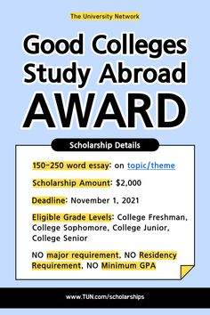 Write 150-250 words to get a scholarship for studying abroad! College Hacks, College Fun, Scholarships For College, College Students, College Survival Guide, Essay Competition, Essay Topics, Good Grades, Freshman