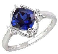 $19.99 - 1.4 Carat Blue Sapphire Diamond Accent Diagonal Square Design Sterling Silver Ring