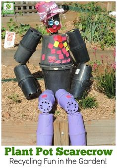 Don't throw out empty plant pots, turn them into a Pot Man Garden Scarecrow. A fun children's recycling project to try for families and early years educators -see how we made it! Diy Garden Projects, Projects For Kids, Garden Ideas, Backyard Ideas, Project Ideas, Potted Plants, Plant Pots, Kid Friendly Backyard, Outdoor Play Spaces
