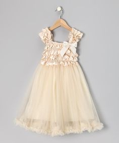 Take a look at this Cream Chiffon Overlay Dress - Toddler & Girls by Royal Gem Clothing on @zulily today! Bought this for my daughter's father/daughter dance (supposed to be white, but the cream, was just cuter)!