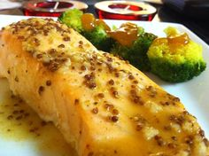 DJ Dave Diner 6/20 Old Bay & Mustard Salmon - Rice wine vinegar always makes me happy, and combining it with Old Bay and stone ground mustard made for the perfect marinade. A little onion, garlic, and brown sugar to sweeten it up. Mango and Vidalia onion chutney for the broccoli.