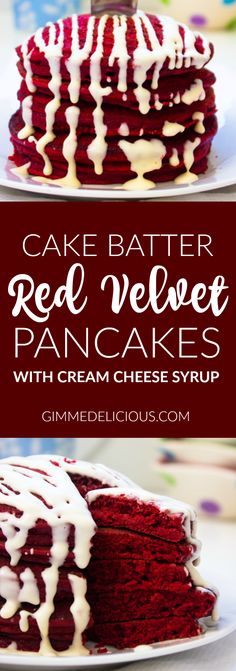 If you love red velvet as much as I do, your going to love these red velvet pancakes. They are super fluffy and super moist. I love eating red velvet cakes, bars, cupcakes, you name it! more importantly, I just LOVE pancakes! so this is like the best of both worlds and came just in time for valentines day.