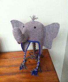 Crochet Elephant Hat with Tuft, Flower, & Earflaps