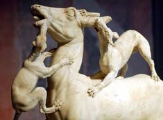 Greek and Roman Sculptures Part 3 - Deer hunted by dogs, one of  a pair of sculptures