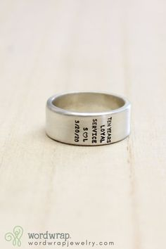 Personalized men's ring, stamped in sterling silver. Click through to customize your wide band man ring. #WordWrap