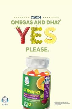 93% of kids ages 2-4 don't eat fish, a key source of Omega 3s and DHA, which is why we're proud to introduce Gerber® Lil' Brainies™ Gummy Multivitamins for kids 2+. Our smart blend of Omegas tri-blend Fats & DHA comes in the fruit flavors kids love like grape, orange, lemon, and strawberry. Each yummy gummy has all the boosting brainpower your kid needs without the fishy taste. Healthy Skin Tips, Healthy Habits, Healthy Choices, Liquid Vitamins, Vitamins And Minerals, Skin Vitamins, Daily Vitamins, Mineral Chart, High Fat Foods