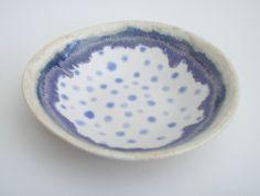 Handmade ceramic stoneware pottery bowl ... Indigo Blue Spotty Dotty £13.00