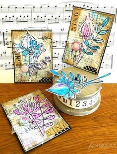 """Mixed media ATC set """"Badges""""... Nová, ve ľ mi zaujímavá výzva na ArtGrupa ATC na tému Odznaky tentokrát pochádza od Denisy . Rozhodla som sa pre stvárnenie na prírod... Atc Cards, Paper Cards, Journal Cards, Altered Books, Altered Art, Art Trading Cards, Altered Canvas, Karten Diy, Artist Card"""