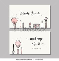 Makeup artist business card. Vector template with makeup items pattern - brush, pencil, eyeshadow, lipstick and mascara