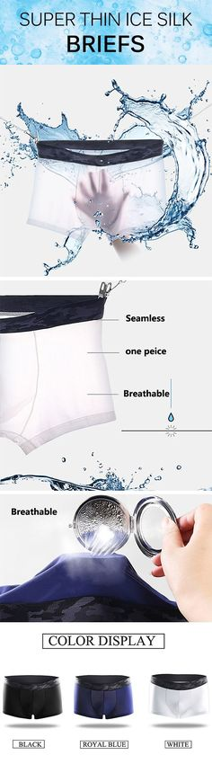 Super Thin Ice Silk Breathable Seamless Boxer Briefs for Men