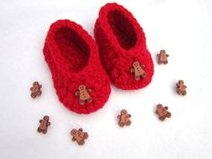 Red Baby Shoes with Gingerbread Men by crochetedbycharlene on Etsy