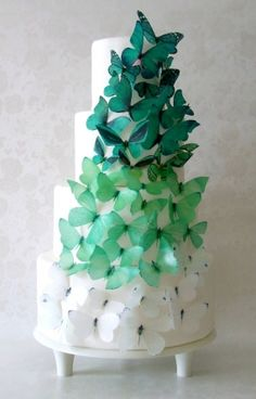 EDIBLE CAKE TOPPERS - 40 Ombre Edible Butterflies in Green, Winter Wedding Cake, Cake Decorations, Emerald or Forest Green