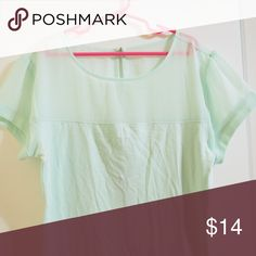 Express Mint Green Sheer Panel Top Never worn. Tags were taken off. Offers welcome :) Express Tops Tees - Short Sleeve