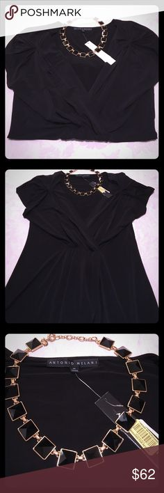 """NWT Antonio Melani Black """"Abby"""" Top Size M NWT Solid Black """"Abby"""" Style Short Sleeve Top Size M; Lovely Cinched Detailing on Front of Top and on Sleeves ⭐️I Accept Reasonable Offers!⭐️ Bundle and Save!! ANTONIO MELANI Tops"""