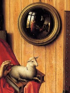 The Werl Triptych, Left Wing: Donor and Saint John the Baptist (detail), 1438, by Robert Campin (Flemish, c. 1375-1444)