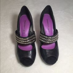 Madden Girl studded strap heels Black Mary Jane style pumps with studded strap. Lightly worn, scuffs on soles from usual wear. High heel about 3-4 inches. Regular width. Madden Girl Shoes Heels