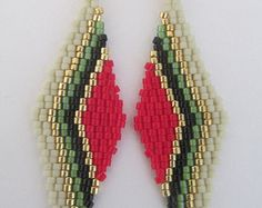 Seed Bead Earrings  Red