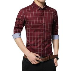 3fb1a0b56d1 Plus Size 4XL 5XL 2018 Men s Plaid 100% Cotton Dress Shirts Male Long  Sleeve Slim Fit Business Casual Shirt Camisa For Man YN259