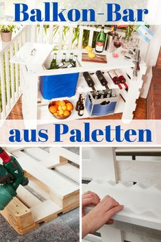 Palette Bar At the next party on the balcony you are well prepared with this pallet bar: a cool box under the c Terasse Bar, Palet Bar, Pub Table Sets, Bar Tables, Euro Pallets, Pub Set, Diy Bar, Pallets Garden, Diy Pallet Projects