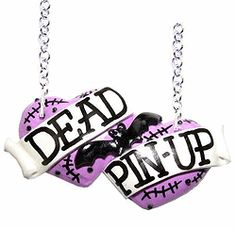 Dead Pin-up large double heart necklace