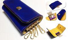 本格手染めのキーケース。落ち着きのあるブルーにマッチしたレッドのミシン糸が特徴的。 #革 #レザー #キーケース #ハンドメイド    http://tagtag.work/gallery.html?select_item=other&utm_source=pinterest&utm_medium=post