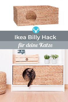 Cat basket for Ikea Billy shelf-Katzenkörbchen für Ikea Billy Regal Now you can easily turn your Ikea Billy shelf into a cozy and stylish cat cave for your house tiger. Ikea Billy, Nine Cat, Diy Cat Scratching Post, Billy Regal, Cat Basket, Cat Hacks, Cat Cave, Gatos Cats, Ideas Hogar