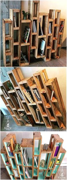If your home has a large extra space that can be easily used for the placement of awesome wooden pallet creation than this pallet bookshelf idea seems perfect to place for the decoration of your simple room as well as to meet your book shelving needs in an economical way. #pallets #woodpallet #palletfurniture #palletproject #palletideas #recycle #recycledpallet #reclaimed #repurposed #reused #restore #upcycle #diy #palletart #pallet #recycling #upcycling #refurnish #recycled #woodwork #woo