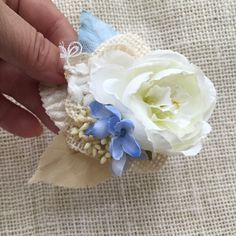 ivory flower and burlap wedding hair accessory by HollyHoopsArt