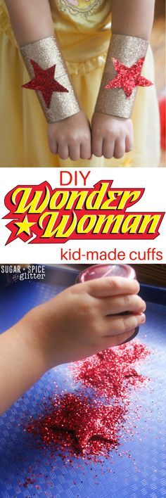DIY Wonder Woman Cuffs DIY Wonder Woman Cuffs for an easy homemade costume kids can make themselves! This quick and easy craft transforms it's maker into an indestructible superhero with just 10 minutes of crafting time and some glitter Wonder Woman Birthday, Wonder Woman Party, Easy Homemade Costumes, Diy Costumes, Woman Costumes, Adult Costumes, Costume Ideas, Kids Costumes Girls, Family Costumes