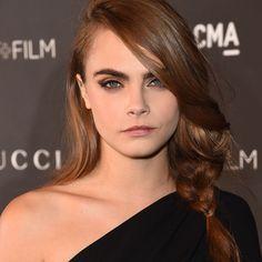 bold brows, neutral shadow & cat liner, natural lips   Cara Delevingne