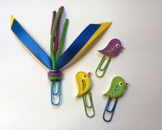 Blue/Yellow/Purple/Green Bird Ribbon Paperclip Set - Planner/Journal/Bookmark - Erin Condren, Kikki K, Happy Planner