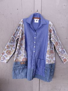 Sale upcycled A line tunic Jacket Linen von lillienoradrygoods