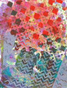 """Juicy Squares, Gray Waves"" original acrylic monotypes by Sharon Giles Printmaking, Squares, Surface, Collage, Waves, Map, Patterns, The Originals, Digital"