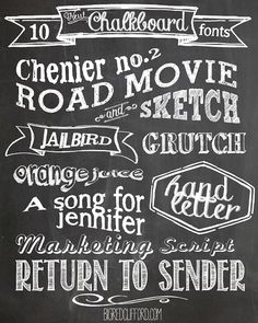 big red clifford: free chalkboard fonts & free printables