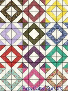 Scrappy Calico Blenders Floral Fabric Diamond Patchwork Pattern Fast Easy Pre-Cut Quilt Blocks Top Kit