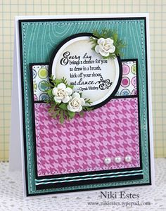 kick off your shoes and dance Verve Stamps: Beautiful You  Paper: My Mind's Eye: Lime Twist - Happy Go Lucky  Ink: versafine onyx black, antique linen distress ink