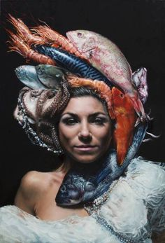 orange - woman with fishes - painting - Victor Grasso