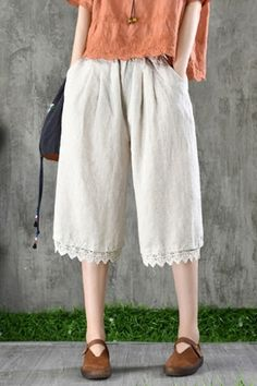 Casual Linen Five Pence Pants Material Linen Style Wide Leg Occasion Going out , Casual , Vacation ,. Casual Dress Outfits, Casual Pants, Fashion Outfits, Culotte Shorts, Wide Leg Linen Pants, Summer Chic, One Piece Swimwear, Cotton Linen, Going Out