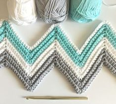 "Daisy Farm Crafts: Single Crochet Chevron Blanket in Mint, Gray, and White - The colors for this blanket are heavenly. Perfect for a new baby boy or girl. I used ""I Love This Cotton"" brand of yarn from Hobby Lobby with a size H hook."
