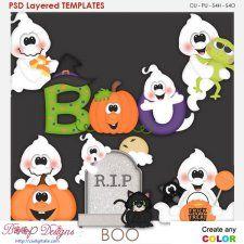 Boo Ghostly Halloween Element Templates #CUdigitals cudigitals.comcu commercialdigitalscrapscrapbookgraphics #digiscrap