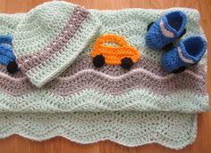 Couverture pour bébé voitures bonnet chaussons couleur