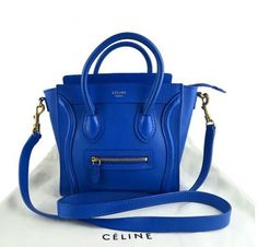 Celine Nano leather shopper tote in cobalt blue