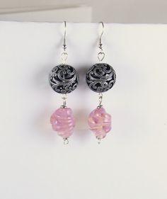 pink glass bead earrings