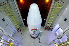 The rocket carrying the Mars Orbiter Spacecraft on the launch pad at Sriharikota on October 2013 Mars Mission, Mars Orbiter Mission, Carl Sagan, Isro India, Cosmos, India First, Drone Technology, Space And Astronomy, Space Program
