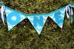 Blue Chevron first birthday banner by FstopCreations on Etsy, $12.99
