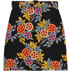 MSGM Floral-print cloqué mini skirt (£250) ❤ liked on Polyvore featuring skirts, mini skirts, bottoms, msgm, yellow, floral mini skirt, yellow skirt, floral a line skirt, a line mini skirt and short skirts